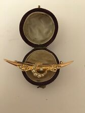 Victorian Antique 15ct Yellow Gold Seed Pearl Crescent Bar Brooch Pin Pretty