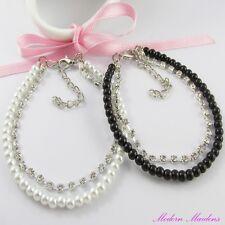 2pce Black and White Pearl & Rhinestone Multistrand Bracelet Set 18cm