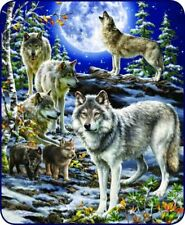 79x96 Queen Spirit of the Pack Wolf Wolves Cubs Mink Fleece Blanket Super Plush