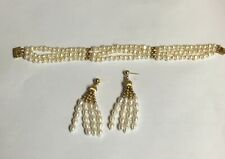 Vintage 14K Gold and Pearl Three Strand Bracelet and Earring Set
