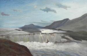 Ölgemälde: Vilhelm Engström, Wasserfall im Mondschein, Stora Sjöfallet ?Norwegen