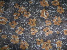 Vintage fabric - 2.25yds poly jersey in brown and tan floral 1980s