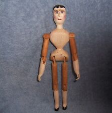 """Vintage Hand-Made Wood Wooden Doll of an Antique Jointed Penny Peg Doll ~ 9"""""""