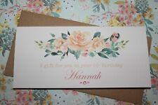 Handmade Personalised Peach Rose Birthday Money Voucher Gift Card Wallet