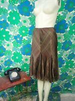 Lauren Ralph Lauren Silk Skirt Ladies Brown Check Trumpet Petite Medium B45