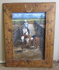 Vintage Western Painting Big Sky Kalispell Montana Livestock Cattle Auction