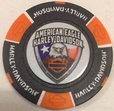 AMERICAN EAGLE DENTON COUNTY TX 115 ANNIVERSARY HARLEY DAVIDSON POKER CHIP (B/O)