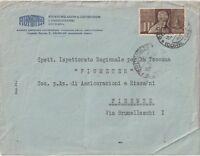 ITALIA 1955 25L ROSMINI  ISOLATO SU  LETTERA  X  FIRENZE