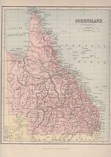 c1880 Two Antique Maps - QUEENSLAND & EASTERN QUEENSLAND - Brisbane Inset Map