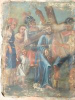 Altes Heiligenbild Gemälde Kreuzweg Jesus trägt das Kreuz