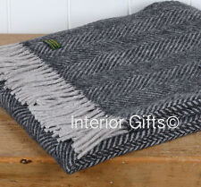 KNEE RUG / SMALL THROW Pure New Wool DARK GREY SILVER Herringbone Chair Blanket