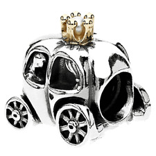 New and Authentic Pandora Royal Carriage Charm 790598P ,silver + gold