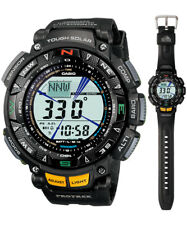 Casio Protrek Solar Digital Mens Black Triple Sensor Watch PRG240-1 PRG-240-1