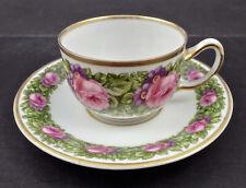 Antique Rosenthal Cup & Saucer, Demitasse or Mocha, Roses
