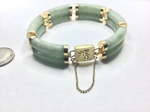 """Awesome 14K Yellow Gold And Jadeite Jade Link Bracelet, 32.9 Grams, 6.5"""" Long"""