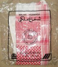MALAKI YASHMAGH Red/White Dubai Arab Desert Turban Scarf w/ Black Head Band