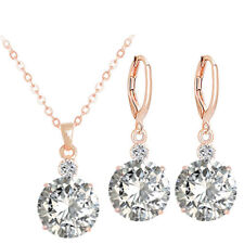 Women Gold Plated Cubic Zirconia Crystal Earrings Necklace Wedding Jewelry Set
