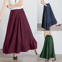 UK Womens Summer Cotton A-Line Long Maxi Skirts Bohemia Casual Loose Solid Dress