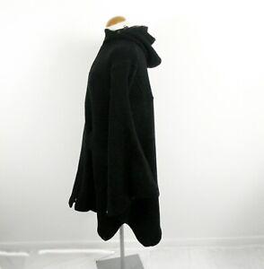 Black Wool Blend Hooded and Zipped Blanket Cape from EC Size M Streetwear