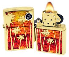Zippo 29420 Fusion Palm Tree Sunset High Polish Brass Finish Windproof Lighter