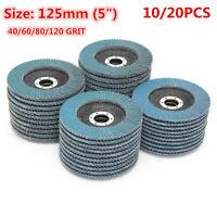 "20X 125mm 5"" Flap Discs Wheels Grinding Sanding 40/60/80/120 Grit Angle Grinder"