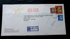 """RARE 1993 HONG KONG TO MONTREAL, CANADA HIGH VALUE HK$13.50 """"REGISTERED"""" COVER U"""