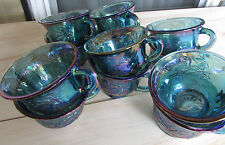Vintage Blue Carnival Glass Punch Cups Indiana Glass Harvest Grape Set of 12 VGC