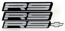 82-92 Camaro Rs Silver Rocker Panel & Rear Bumper Emblem Set of 3 9192Rssilver
