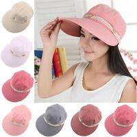 Women Hat Girl Cap Wide Brim Summer Beach Sun Visor Straw Foldable Roll Up New y