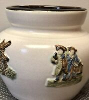 "Bourne Denby Embossed Humidor Tobacco Pottery Jar Crock Made in England  6"" Tall"