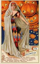 HALLOWEEN, WOMAN IN COSTUME #2, FLOATING, SMILING JOLS, FRIDGE MAGNET