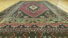 "Beautifull Vegy Dyed 4'1""×7'8"" Antique 1935-1940s,Wool Pile Dowry Rug"