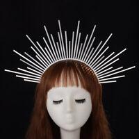 Women Handmade Silver Spike Halo Headband Bridal Crown Party Headdress Headpiece