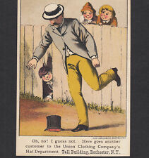 Union Clothing Hat Dept Rochester NY Tall Building Kick Brick Advertising Card