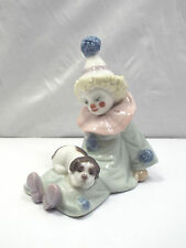Lladro Figurine #5278 Pierrot with Puppy, Small Clown with Puppy on Lap