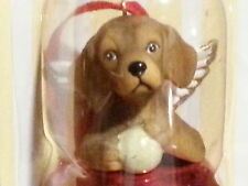 3 Pc Set DACHSHUND BROWN Dog Figurine Red Brass Bells DNC Collections Ornament