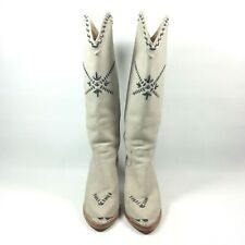 Zodiac USA Vintage Gray Blue Heel Knee High Cowgirl Western Boots Womens Size 7M