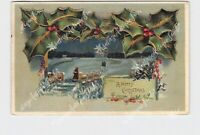 PPC POSTCARD MERRY CHRISTMAS HOLLY SNOW COVERED LANDSCAPE BRIDGE GOLD EMBOSSED