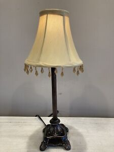 "Bronze Tone Candlestick Lamp Bedside Tabletop 16"" Tall 15W Bulb"