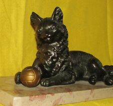 CHAT ANCIEN JOUANT ART-DECO REGULE PATINE STATUE ANIMALIERE