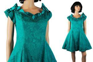 80s Prom Gown Sz 13/14 M Jrs L Teal Green Floral Brocade Satin Trim Mini Dress