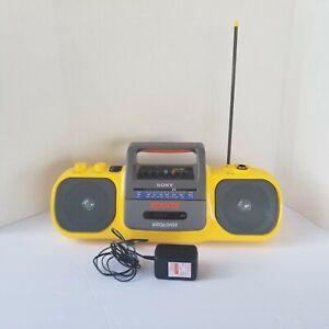 Sony CFS-914 Sports Mega Bass Radio Cassette Yellow Boombox - Tested Retro 90's
