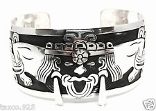 Silver Native Warrior Bracelet Mexico Vintage Style Taxco Mexican 950 Sterling