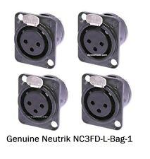 4 Neutrik NC3FD-L-B-1 3-Pin XLRF Black/Gold Panel Mount w/Solder Cups