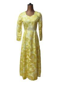 Vintage 60s Party Prom Cocktail Dress Retro Elegant Satin Floral Yellow UK 6