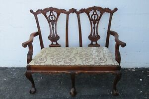 Carved Solid Mahogany Ball and Claw Feet Bench Loveseat 2265