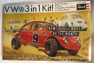 Vtg 1968 Revell VW Volkswagen Bug Sealed 1/25  Rally Toy Car Model Vinyl Record