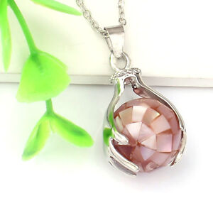 Silver Plated Hand Round Gemstone Beads Hand-Holding Stone Pendant Necklace