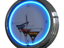 N-0307 Martini Glas - Deko Neon Uhr Clock Wanduhr Neonuhr Neonclock Werkstatt