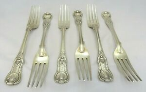 Set of 6 Antique Mary Chawner Sterling Silver Forks King's Pattern 1834 (600g)
